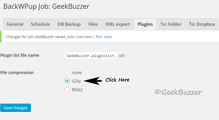 Plugins-backwpup-create-job