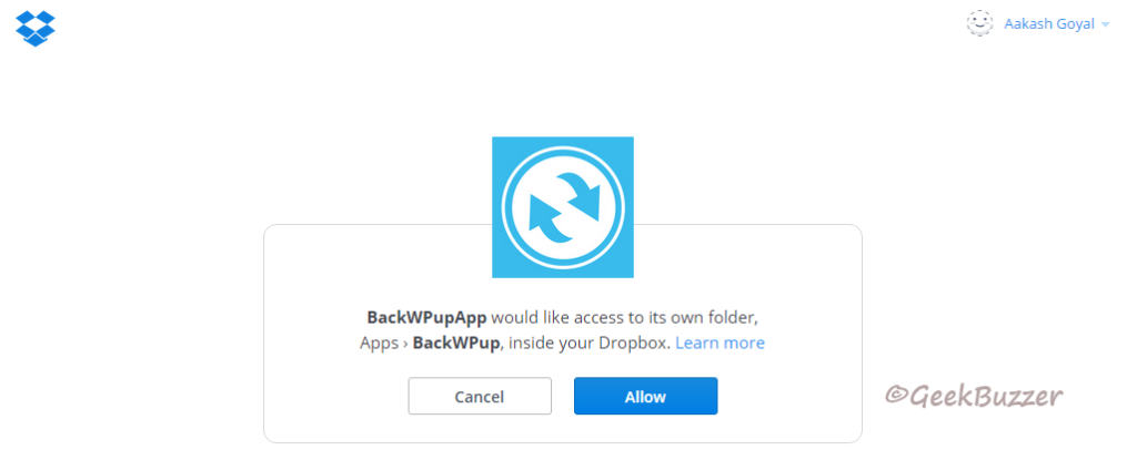 dropbox-auth-backwpup-create-job
