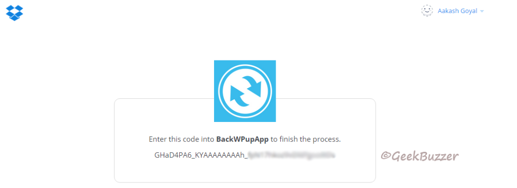 dropbox-auth-code-backwpup-create-job